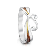 New Wave Sterling Silver Ring in Flame Enamel by Sheila Fleet Jewellery