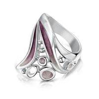 Arctic Stream Large Ring in Champagne Enamel by Sheila Fleet Jewellery