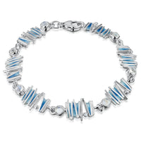 Moonlight 7-link Enamel Bracelet with Moonstone & CZ by Sheila Fleet Jewellery