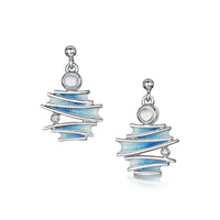 Moonlight Enamel Drop Earrings with Moonstone & CZ by Sheila Fleet Jewellery