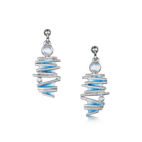 Moonlight Slim Enamel Earrings with Moonstone & CZ by Sheila Fleet Jewellery