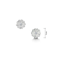Primula Scotica Cubic Zirconia Stud Earrings in Crystal Enamel