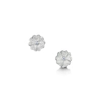 Primula Scotica Cubic Zirconia Stud Earrings in Crystal Enamel by Sheila Fleet Jewellery