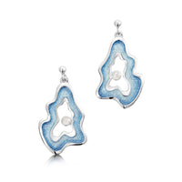 Rock Pool Enamel Dress Drop Earrings with Moonstone by Sheila Fleet Jewellery