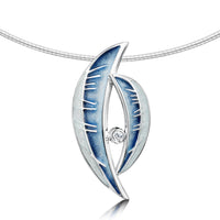 Skyran 'Moon' Enamel Necklace in Sterling Silver with CZ by Sheila Fleet Jewellery