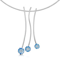 Primula Scotica 3-flower Cubic Zirconia Necklace in Forget-Me-Not Blue by Sheila Fleet Jewellery