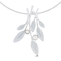 Rowan Occasion Necklace in Sage Enamel with Moonstone, Pearl & CZ