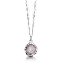 Lunar Pearl Small Pendant Necklace in Champagne Enamel