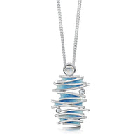 Moonlight Enamel Pendant Necklace with Moonstone & CZ by Sheila Fleet Jewellery