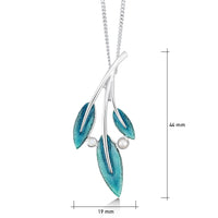 Rowan Three-Leaf Pendant Necklace in Sage Enamel with Moonstone & Pearl