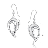 Dolphin Curve Drop Earrings in Sterling Silver