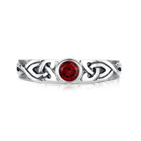 Celtic Knotwork Garnet Ring in Sterling Silver by Sheila Fleet Jewellery