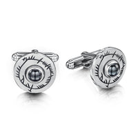Ogham Cufflinks in Sterling Silver with Hematite by Sheila Fleet Jewellery
