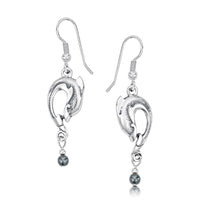 Dolphin Curve Small Drop Earrings with Hematite