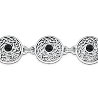 Celtic Bracelet in Sterling Silver with Onyx