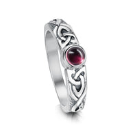 Celtic Knotwork Pink Tourmaline Ring in Sterling Silver by Sheila Fleet Jewellery