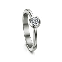 Contemporary 0.25ct Solitaire Diamond Ring in Platinum by Sheila Fleet Jewellery