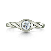 Twist 0.40ct Diamond Solitaire Ring in Platinum by Sheila Fleet Jewellery