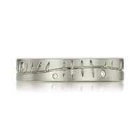 Ogham Ring in Platinum with Diamonds by Sheila Fleet Jewellery
