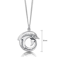 Dolphin Curl Pendant Necklace in Sterling Silver