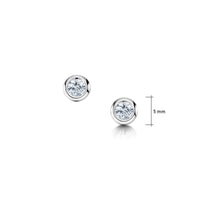 Cubic Zirconia Solitaire Stud Earrings in Sterling Silver
