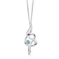 Tidal Silver Pendant Necklace with Blue Topaz