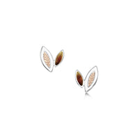 Seasons Gold Leaves Petite Stud Earrings in Autumn Enamel by Sheila Fleet Jewellery