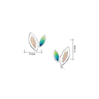 Seasons Gold Leaves Petite Stud Earrings in Spring Enamel by Sheila Fleet Jewellery