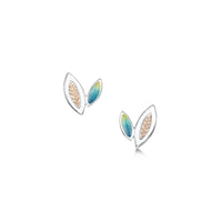 Seasons Gold Leaves Petite Stud Earrings in Summer Enamel by Sheila Fleet Jewellery