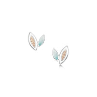 Seasons Gold Leaves Petite Stud Earrings in Winter Enamel by Sheila Fleet Jewellery