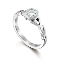 Twist 4.75mm Cubic Zirconia Solitaire Ring in Sterling Silver by Sheila Fleet Jewellery