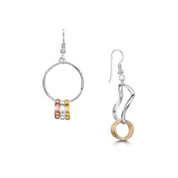 Wave Surfers Drop Earrings in Silver, 9ct Yellow & Rose Gold by Sheila Fleet Jewellery