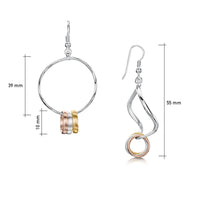 Wave Surfers Dress Drop Earrings in Silver, 9ct Yellow & Rose Gold by Sheila Fleet Jewellery