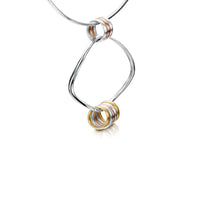 Wave Surfers 8-ring Necklace in Silver, 9ct Yellow & Rose Gold by Sheila Fleet Jewellery