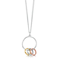 Wave Surfers 3-ring Pendant in Silver, 9ct Yellow & Rose Gold by Sheila Fleet Jewellery