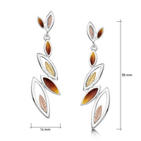 Seasons Gold Leaves 6-leaf Drop Earrings in Autumn Enamel by Sheila Fleet Jewellery