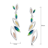 Seasons Gold Leaves 6-leaf Drop Earrings in Spring Enamel by Sheila Fleet Jewellery