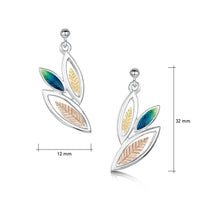 Seasons Gold Leaves 3-leaf Drop Earrings in Spring Enamel by Sheila Fleet Jewellery
