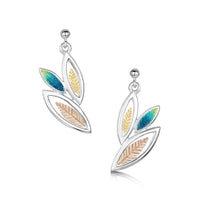Seasons Gold Leaves 3-leaf Drop Earrings in Summer Enamel by Sheila Fleet Jewellery