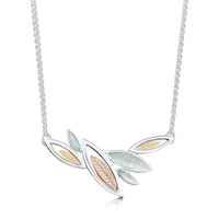 Seasons Gold Leaves Necklace in Winter Enamel by Sheila Fleet Jewellery