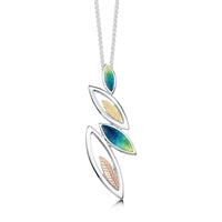 Seasons Gold Leaves Pendant Necklace in Spring Enamel by Sheila Fleet Jewellery