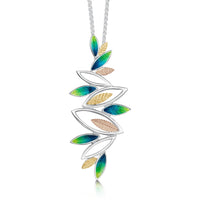 Seasons Gold Leaves Dress Pendant in Spring Enamel by Sheila Fleet Jewellery