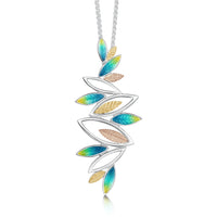 Seasons Gold Leaves Dress Pendant in Summer Enamel by Sheila Fleet Jewellery