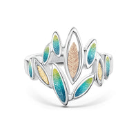 Seasons Gold Leaves Ring in Summer Enamel by Sheila Fleet Jewellery