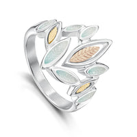 Seasons Gold Leaves Ring in Winter Enamel by Sheila Fleet Jewellery
