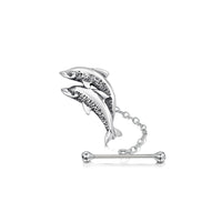 Dolphin Duo Tie Tack in Sterling Silver