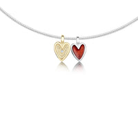 Secret Hearts Enamel Diamond Necklace in Silver & 9ct Yellow Gold by Sheila Fleet Jewellery