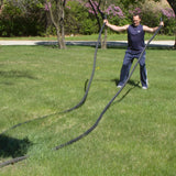 PowerFit Black Poly Darcon Battle Ropes for Commercial and Home Gyms-FREE SHIPPING
