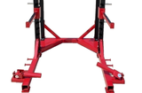 PowerFit Pro Series Half Power Squat Rack with Landmine Attachments and Pro Grade Flat Bench Package