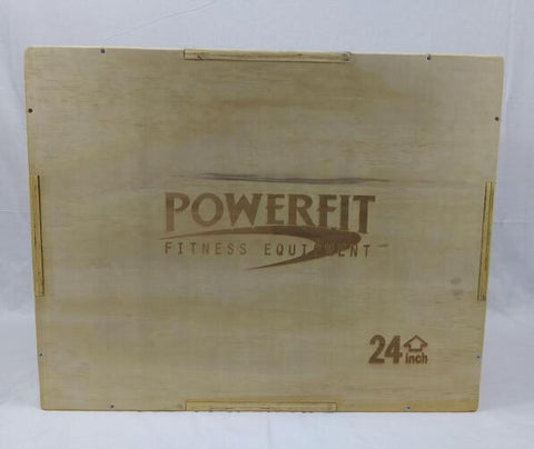 "PowerFit Wooden Plyo Box 20"" x 24"" x 30"" for Commercial and Home Fitness"